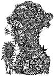ROSES. Charity Art Exhibition 2009 出展作品のモノクロ版の自画像を細かい線画で描きました。