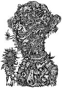 ROSES. Charity Art Exhibition 2009 出展作品のモノクロ版 自画像 線画 人体模型 人体の不思議展 アパレルデザイン Tシャツ用イラスト