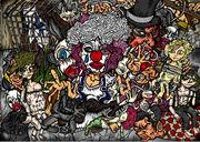 ハリウッド自主映画のポスター ピエロ ぬいぐるみ 操り人形 マリオネット イラスト アメコミ風