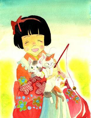 大正風の女の子と猫