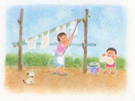 昭和の子供 朝のお手伝い ほのぼののイラスト 家族のイラスト 天気 空模様のイラスト 子供 女のイラスト 動作 しぐさのイラスト ファーストマテリアル