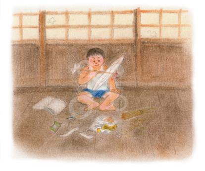 昭和の子供 夏休みの工作