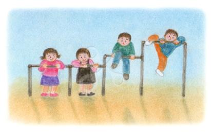 昭和の子供 鉄棒