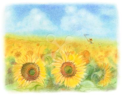 昭和の子供 ひまわり畑で虫取り