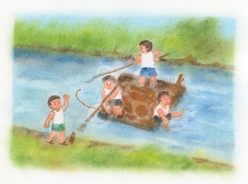 昭和の子供 筏で川くだり