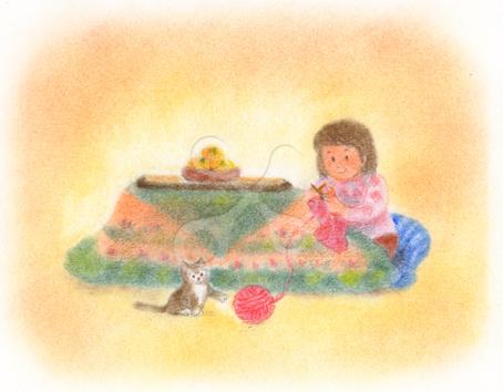 昭和の子供 コタツにネコとみかん