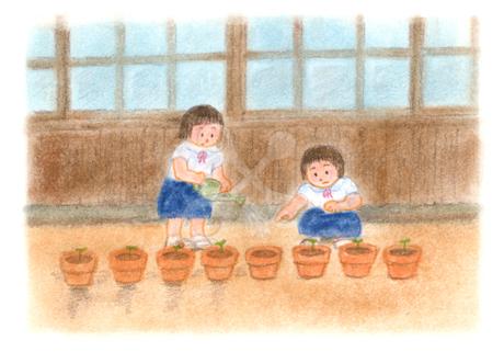 昭和の子供 朝の水やり