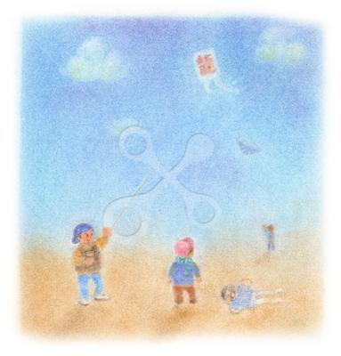 昭和の子供 凧揚げ