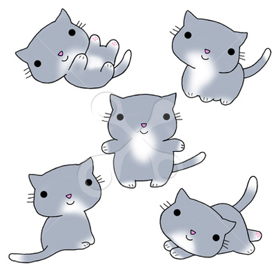 グレーの子猫 かわいいのイラスト ほのぼののイラスト ほ乳類の