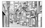 漫画の背景。ごちゃっとした商店街です。