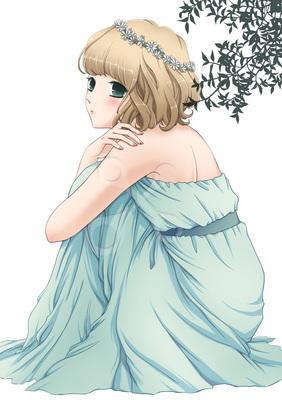ロングスカートの女の子 10代女のイラストかわいいのイラスト花の