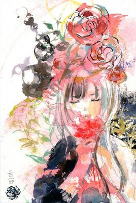 夏の草赤い花を君に 花を持つ女の子のイラスト 水彩画のイラスト