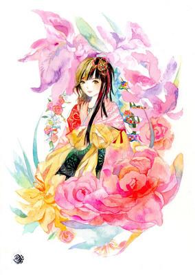 開花 花と女の子のイラスト 10代女のイラスト和風のイラスト