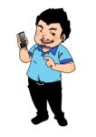 通販サイトのための、スマホを持った男性のキャラクター。