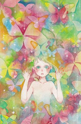 蝶の庭 萌えのイラスト10代女のイラスト水彩画のイラストかわいい