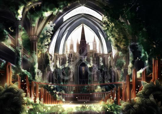 廃教会 空想sfの風景のイラスト Skillots