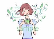 ハーブティーパッケージ用イラスト 女性 (仕事絵)