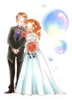 結婚式の受付を飾るために華やかな似顔絵イラストをということで描かせて頂きました。  背景素材はお借りしたフリー素材です。