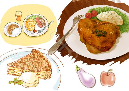 食べ物サンプル 水彩画のイラストリアルのイラストかわいいの