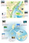 海外旅行サイトに使用された、イラスト地図と案内図です。