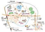学校案内用に掲載された、大学周辺紹介の地図です。 学生が手描きで描いたイメージで制作しました。