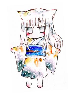 和服を着た子猫のデフォルメイラストです ほ乳類のイラスト Skillots