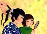 新しい鏡、新しい着物。  日本的少女たち・・・わたしが好んで描くモチーフです。
