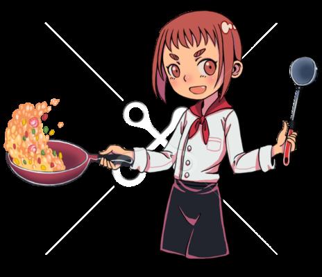 料理をする女の子 10代女のイラストポップのイラストかわいいの