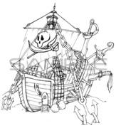 【背景デザイン】海賊の武器屋(外観)