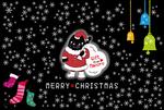 当方オリジナルキャラMaccro(マックロ)のクリスマスカードです。マックロは黒猫です。著作権は譲渡いたしません。ご使用を許可させていただく形です。お問合せお待ちしております。
