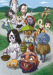 神無月の最後の日、西洋の妖怪どもを真似て、日の沈まぬうちから人間どもの村へ向かい、菓子を献上させたらんとする日本の妖怪どもの図。