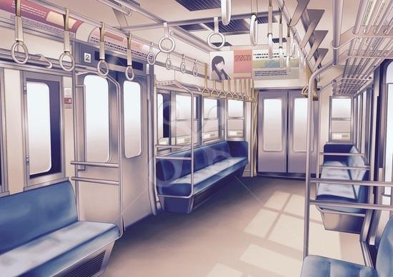 電車内 街並みのイラスト Skillots