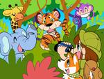 ジャングルの動物たちのイラストです