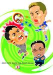 サッカーワールドカップの似顔絵イラスト。3人。