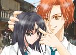 ゲーム系SNS作品(ウェブカレ)の男子キャラクター(右)と京都に修学旅行に行った設定の仮想ゲームスチルイラスト。