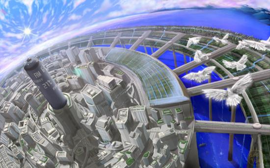 海上都市 | 空想・SFの風景のイラスト | Skillots