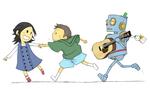 地元で活動されているシンガーソングライターさんのグッズ(歌詞付きポストカード)として使用されています。全員のキャラクターデザインもしました。