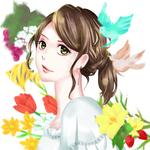 パソコンでデジタル描画した水彩風のイラスト。美しい女性や花をモチーフにしました。ポスターやチラシ、webコンテンツなど「女性のイラスト」が必要な場合はお気軽にご相談ください。発注者様のご希望のテイストでご提案させていただきます。