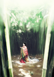 橘嘉智子が竹林に佇んでいる様子です。