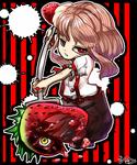 イチゴを狩る女の子