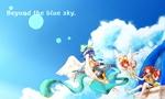 """""""蒼空の向こう側""""へ 天使に連れられ少女は澄んだ青い世界に旅に出る。  「青」をテーマに描いたもの。夏っぽいのが描けました。"""