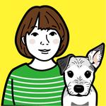 ペットと家族の似顔絵イラストです。プレゼントや記念用に制作しました。