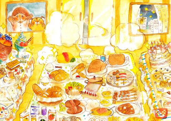 絵本挿絵たくさんの美味しそうな食べ物が並ぶ部屋 水彩画のイラスト