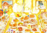 絵本挿絵:たくさんの美味しそうな食べ物が並ぶ部屋