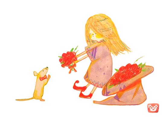 花束を手渡す女の子 水彩画のイラストかわいいのイラストほのぼのの