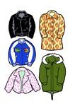 左上・ライダースジャケット、左中・スカジャン、左下・フェイクファージャケット、右上・ウールコート、右下・モッズパーカ