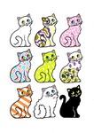 柄、品種違いのネコ9匹です。