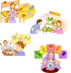 女性的に健康に生きる情報サイトに使用したカット テキストシチュエーションを幸せなタッチで表現。 使用ソフト Adobe Illustrator 4点で2万4千円