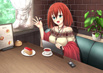 喫茶店でお茶をしながら待ち合わせているイメージで描きました