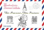 パリのイメージイラスト線画、モノクロ